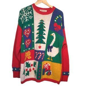 VINTAGE KAREN SCOTT Ugly Christmas Knit Sweater Size Large Oversized 55% RAMIE